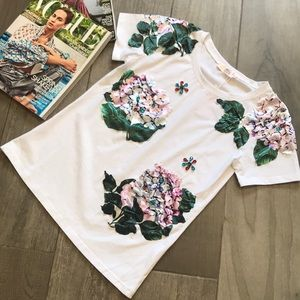 Tops - 💎White shirt with floral patches and jewels 💎